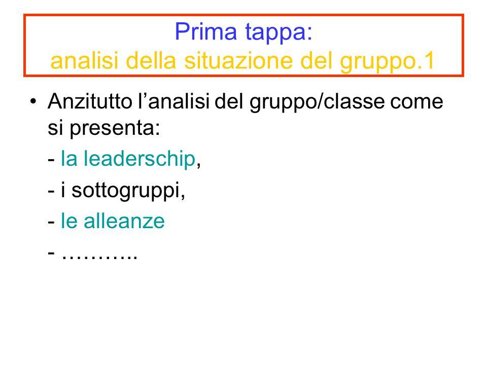 Prima tappa: analisi della situazione del gruppo.1 Anzitutto l'analisi del gruppo/classe come si presenta: - la leaderschip, - i sottogruppi, - le all
