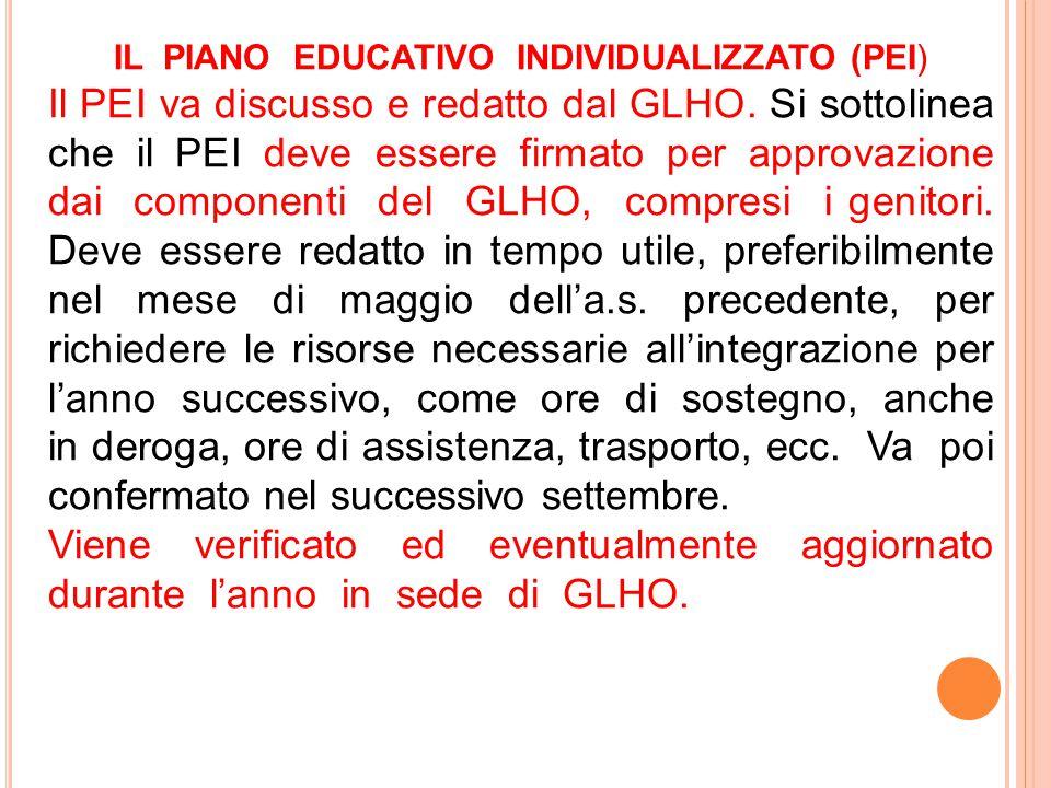 IL PIANO EDUCATIVO INDIVIDUALIZZATO (PEI) Il PEI va discusso e redatto dal GLHO. Si sottolinea che il PEI deve essere firmato per approvazione dai com