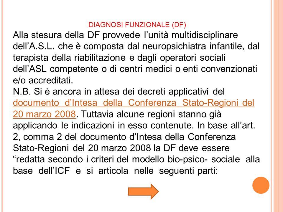DIAGNOSI FUNZIONALE (DF) Alla stesura della DF provvede l'unità multidisciplinare dell'A.S.L. che è composta dal neuropsichiatra infantile, dal terapi