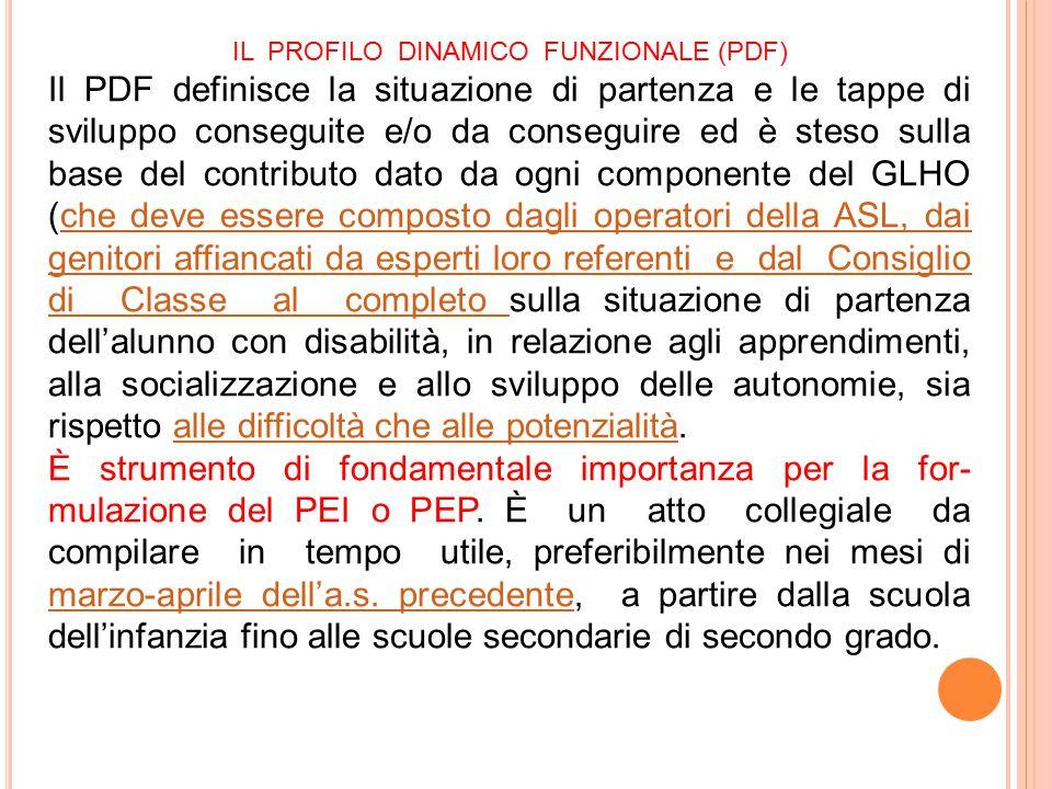 IL PROFILO DINAMICO FUNZIONALE (PDF) Il PDF definisce la situazione di partenza e le tappe di sviluppo conseguite e/o da conseguire ed è steso sulla b