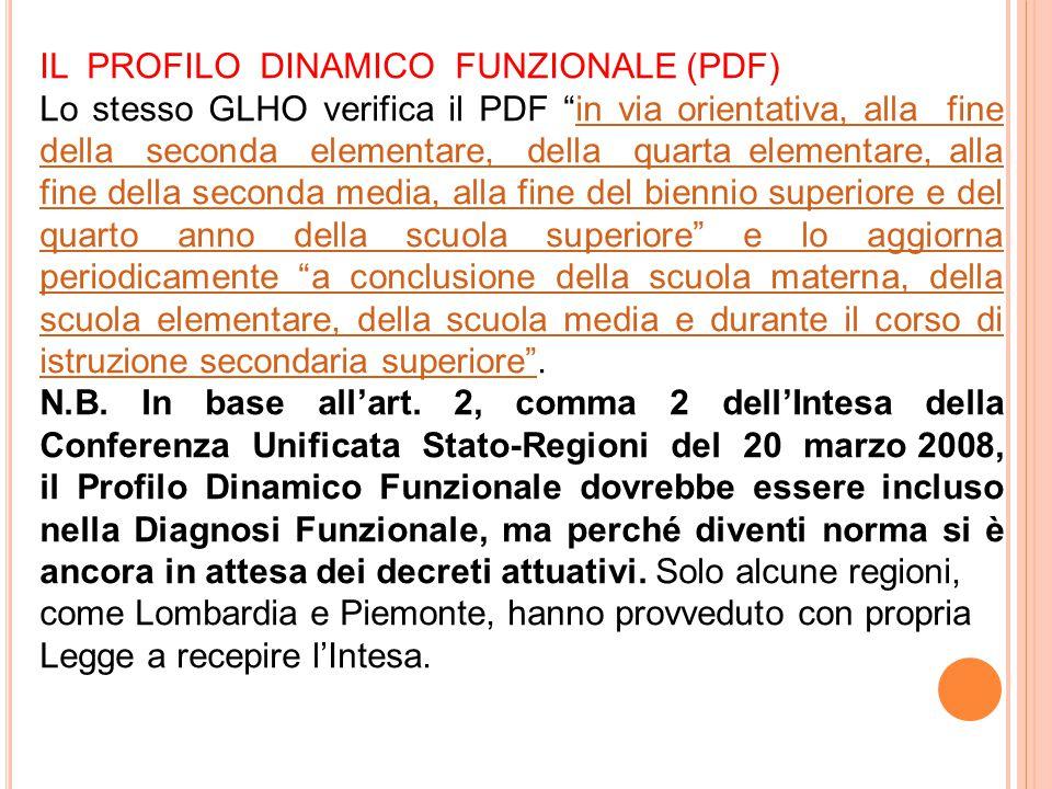"""IL PROFILO DINAMICO FUNZIONALE (PDF) Lo stesso GLHO verifica il PDF """"in via orientativa, alla fine della seconda elementare, della quarta elementare,"""