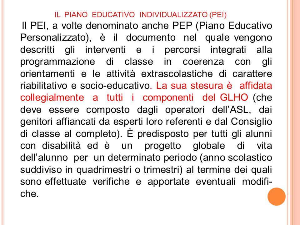 IL PIANO EDUCATIVO INDIVIDUALIZZATO (PEI) Il PEI, a volte denominato anche PEP (Piano Educativo Personalizzato), è il documento nel quale vengono desc