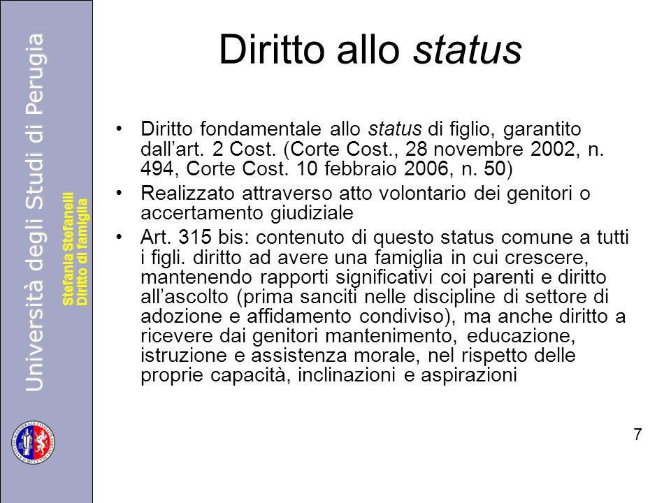 Università degli Studi di Perugia Diritto di famiglia Stefania Stefanelli Università degli Studi di Perugia Diritto di famiglia Stefania Stefanelli Diritto allo status Diritto fondamentale allo status di figlio, garantito dall'art.