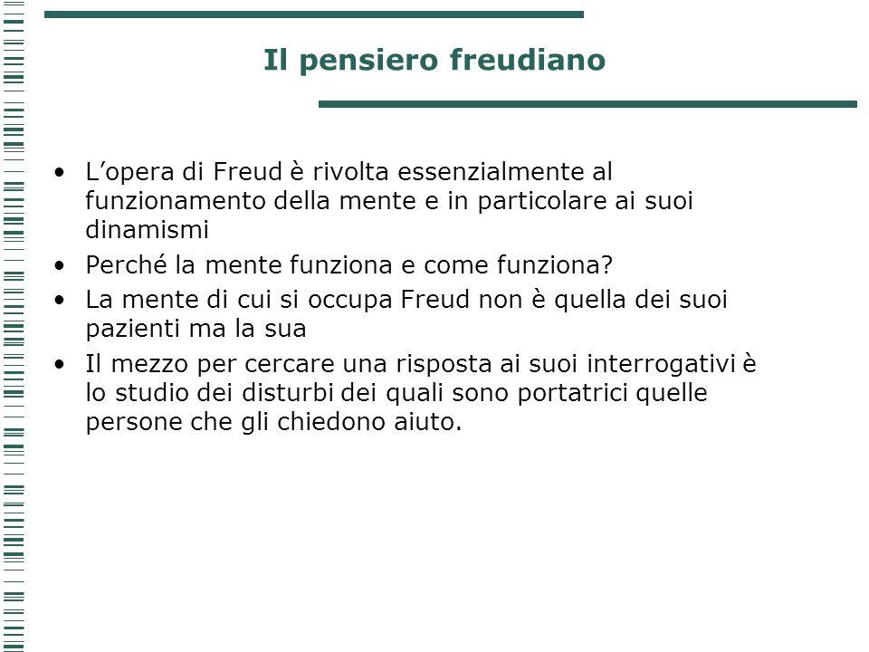Il pensiero freudiano L'opera di Freud è rivolta essenzialmente al funzionamento della mente e in particolare ai suoi dinamismi Perché la mente funzio