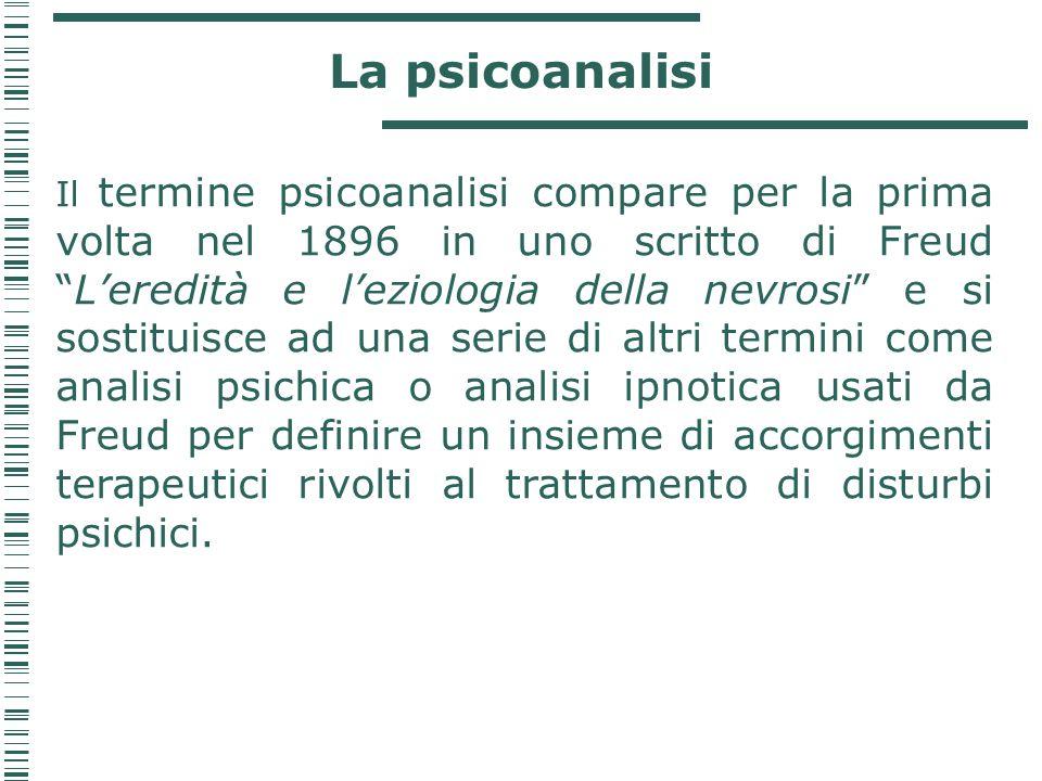 """La psicoanalisi Il termine psicoanalisi compare per la prima volta nel 1896 in uno scritto di Freud """"L'eredità e l'eziologia della nevrosi"""" e si sosti"""