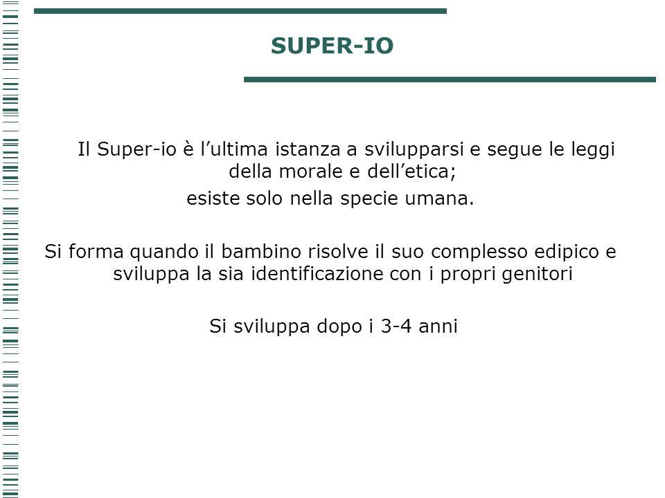 SUPER-IO Il Super-io è l'ultima istanza a svilupparsi e segue le leggi della morale e dell'etica; esiste solo nella specie umana. Si forma quando il b