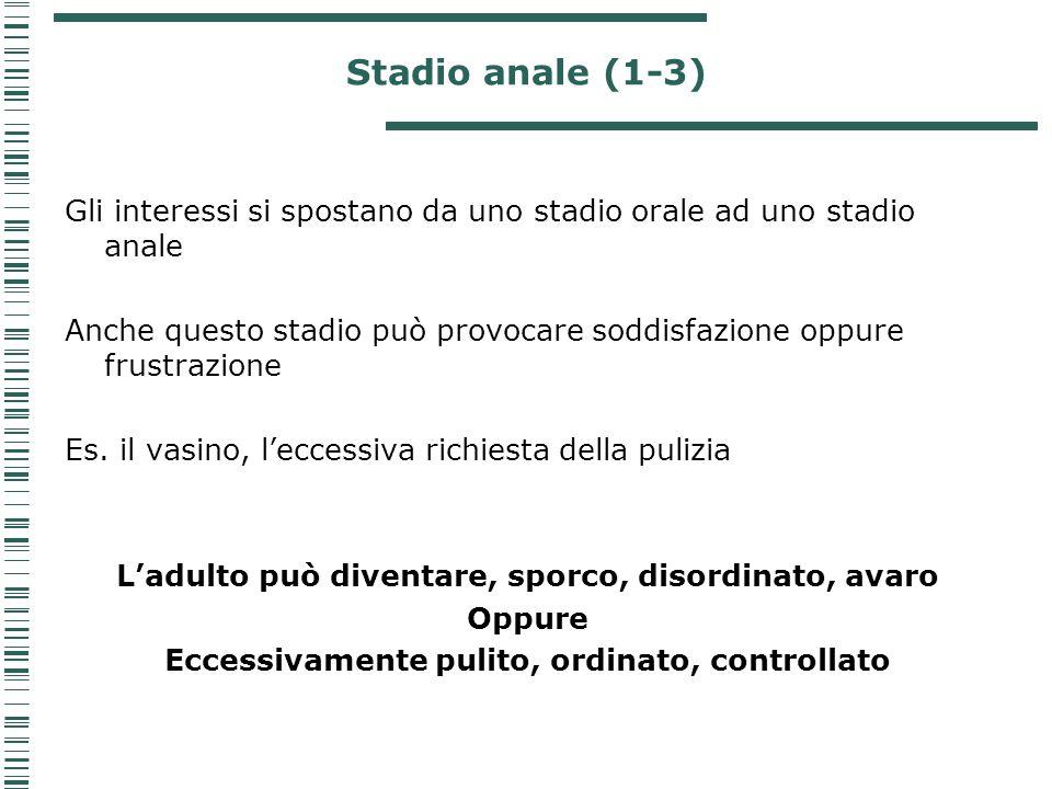 Stadio anale (1-3) Gli interessi si spostano da uno stadio orale ad uno stadio anale Anche questo stadio può provocare soddisfazione oppure frustrazio