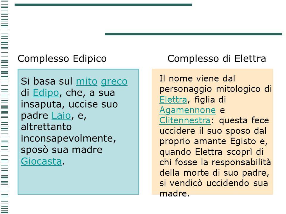Complesso Edipico Complesso di Elettra Si basa sul mito greco di Edipo, che, a sua insaputa, uccise suo padre Laio, e, altrettanto inconsapevolmente,