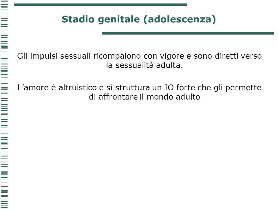 Stadio genitale (adolescenza) Gli impulsi sessuali ricompaiono con vigore e sono diretti verso la sessualità adulta. L'amore è altruistico e si strutt