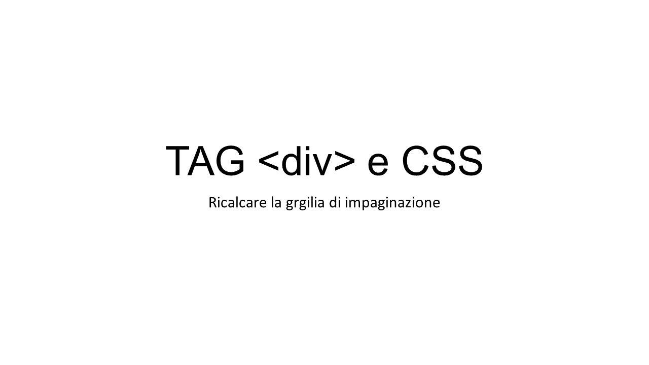 TAG e CSS Ricalcare la grgilia di impaginazione
