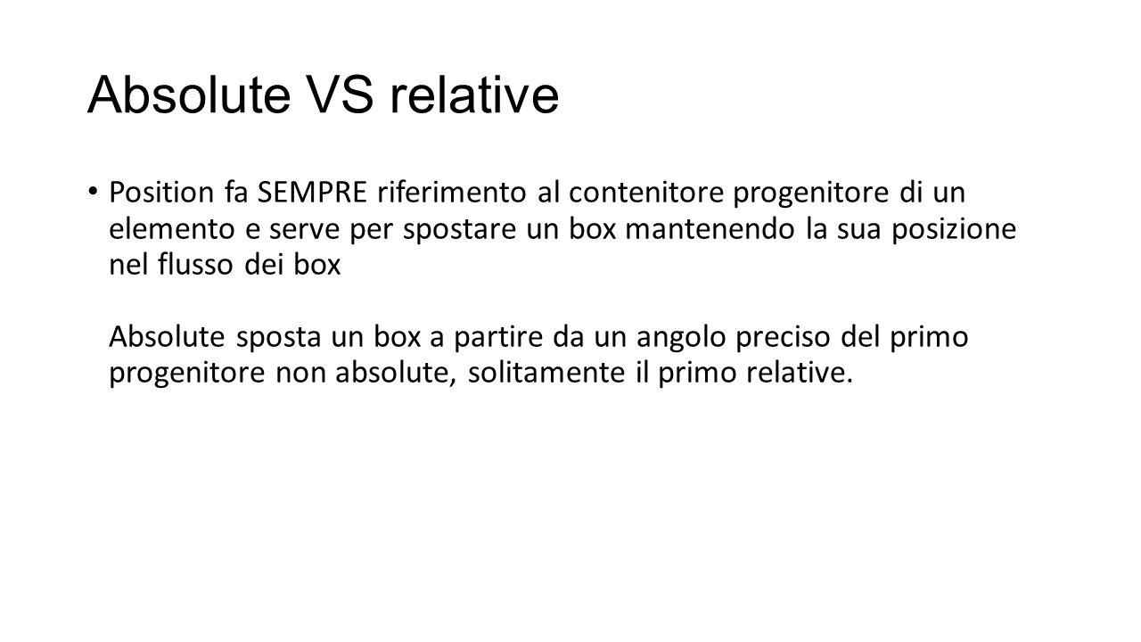 Absolute VS relative Position fa SEMPRE riferimento al contenitore progenitore di un elemento e serve per spostare un box mantenendo la sua posizione nel flusso dei box Absolute sposta un box a partire da un angolo preciso del primo progenitore non absolute, solitamente il primo relative.