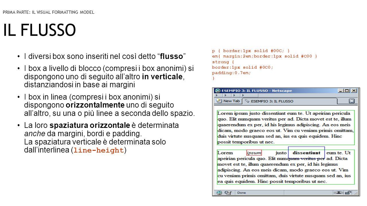 IL FLUSSO I diversi box sono inseriti nel così detto flusso I box a livello di blocco (compresi i box anonimi) si dispongono uno di seguito all'altro in verticale, distanziandosi in base ai margini I box in linea (compresi i box anonimi) si dispongono orizzontalmente uno di seguito all'altro, su una o più linee a seconda dello spazio.