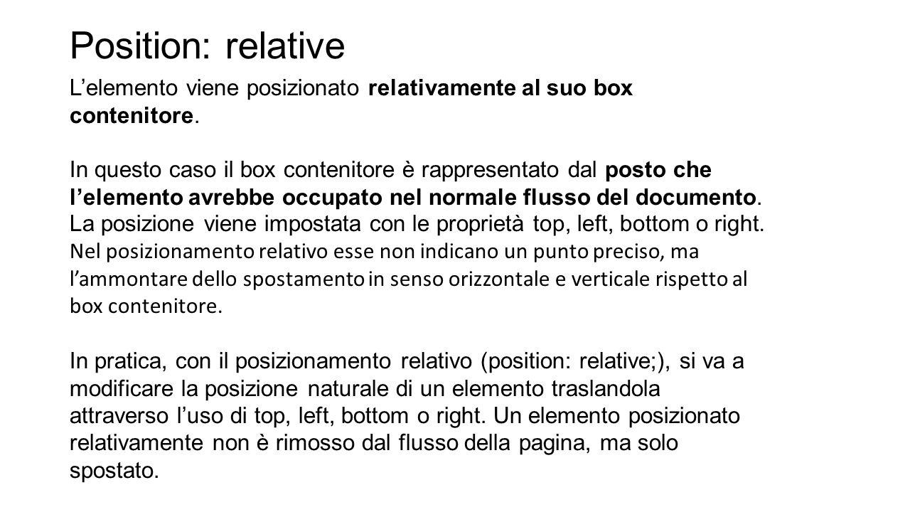 Position: relative L'elemento viene posizionato relativamente al suo box contenitore.