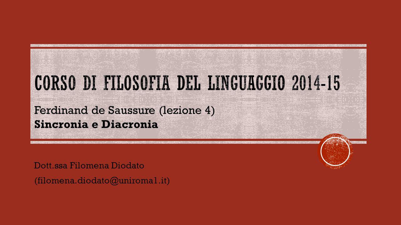 Dott.ssa Filomena Diodato (filomena.diodato@uniroma1.it) Ferdinand de Saussure (lezione 4) Sincronia e Diacronia