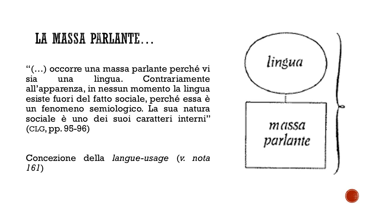 (…) occorre una massa parlante perché vi sia una lingua.