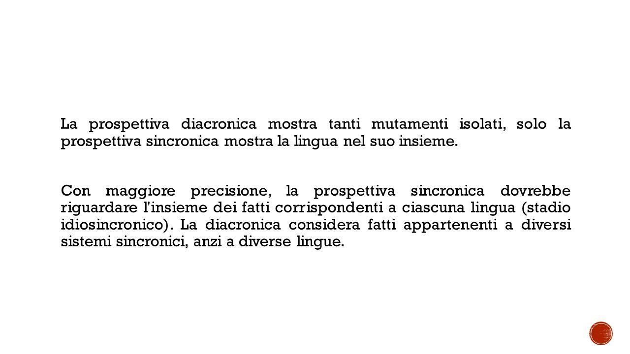 La prospettiva diacronica mostra tanti mutamenti isolati, solo la prospettiva sincronica mostra la lingua nel suo insieme.