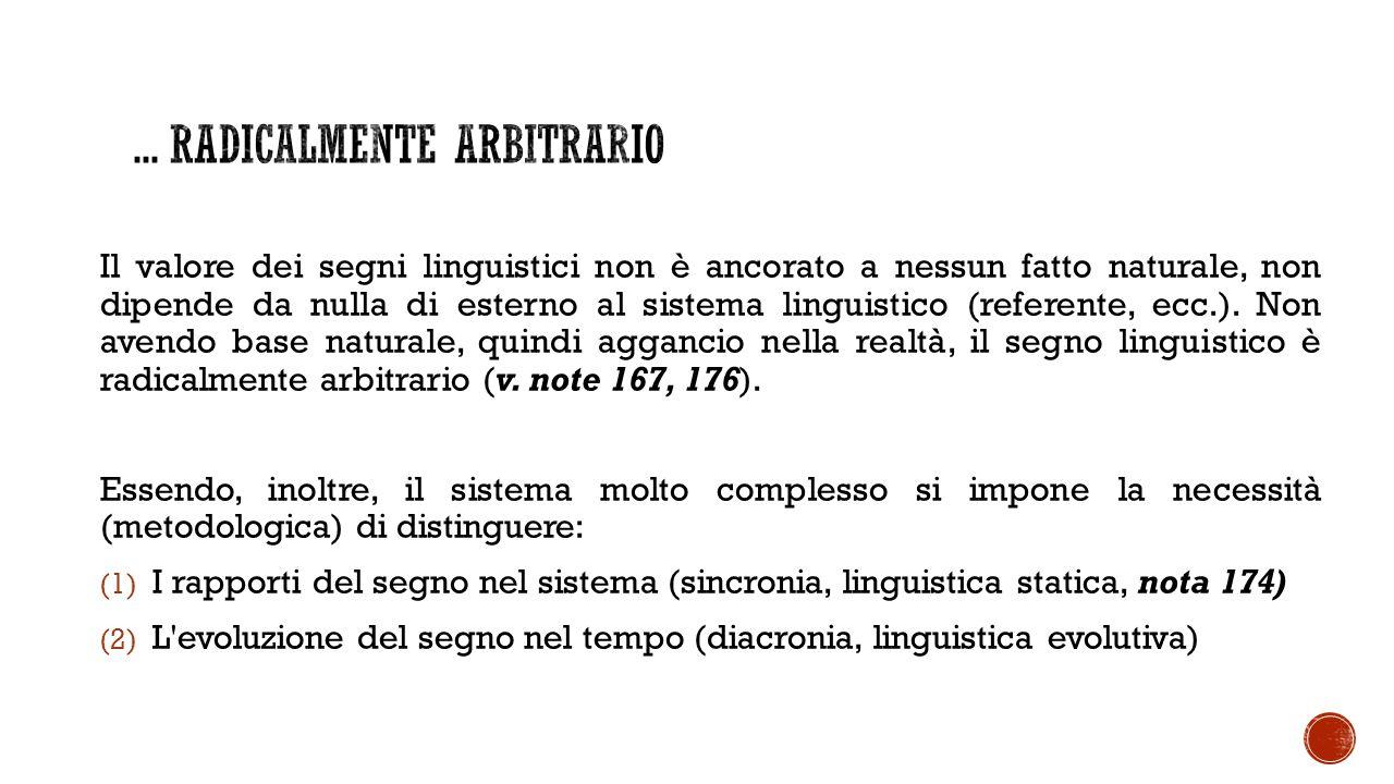 Il valore dei segni linguistici non è ancorato a nessun fatto naturale, non dipende da nulla di esterno al sistema linguistico (referente, ecc.).