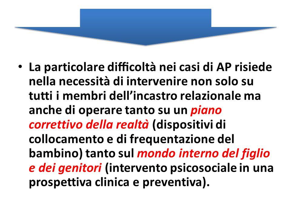 La particolare difficoltà nei casi di AP risiede nella necessità di intervenire non solo su tutti i membri dell'incastro relazionale ma anche di ope