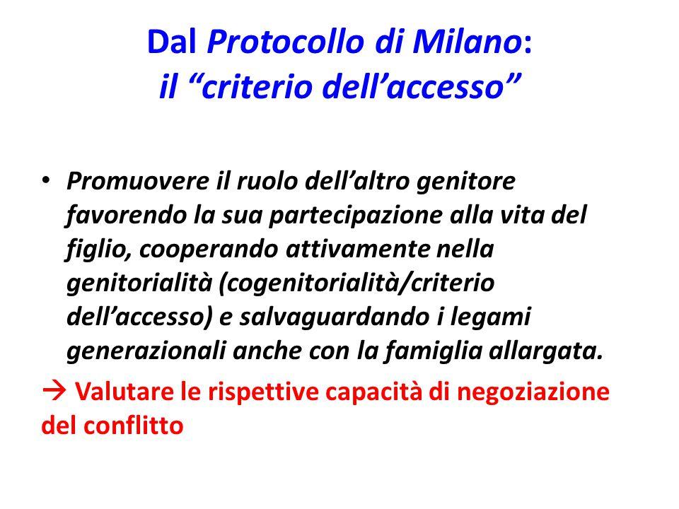 """Dal Protocollo di Milano: il """"criterio dell'accesso"""" Promuovere il ruolo dell'altro genitore favorendo la sua partecipazione alla vita del figlio, coo"""