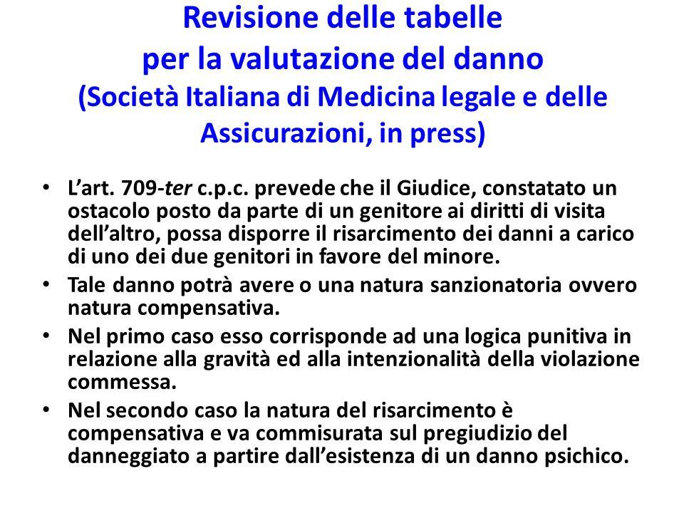 Revisione delle tabelle per la valutazione del danno (Società Italiana di Medicina legale e delle Assicurazioni, in press) L'art. 709-ter c.p.c. preve