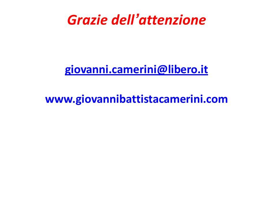 Grazie dell ' attenzione giovanni.camerini@libero.it www.giovannibattistacamerini.com giovanni.camerini@libero.it