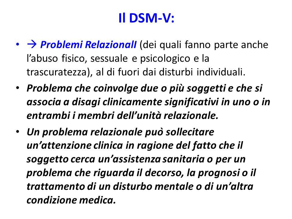 Il DSM-V:  Problemi RelazionalI (dei quali fanno parte anche l'abuso fisico, sessuale e psicologico e la trascuratezza), al di fuori dai disturbi ind