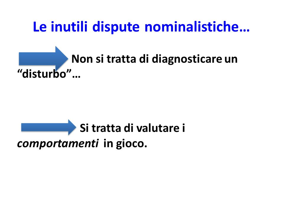 """Le inutili dispute nominalistiche… Non si tratta di diagnosticare un """"disturbo""""… Si tratta di valutare i comportamenti in gioco."""