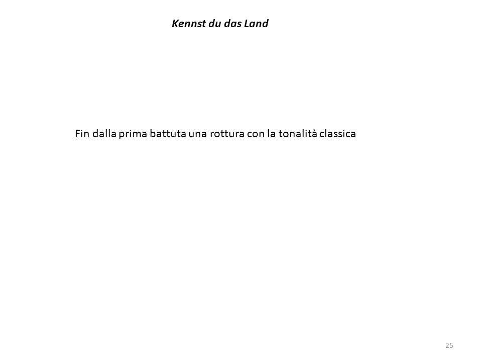 25 Kennst du das Land Fin dalla prima battuta una rottura con la tonalità classica