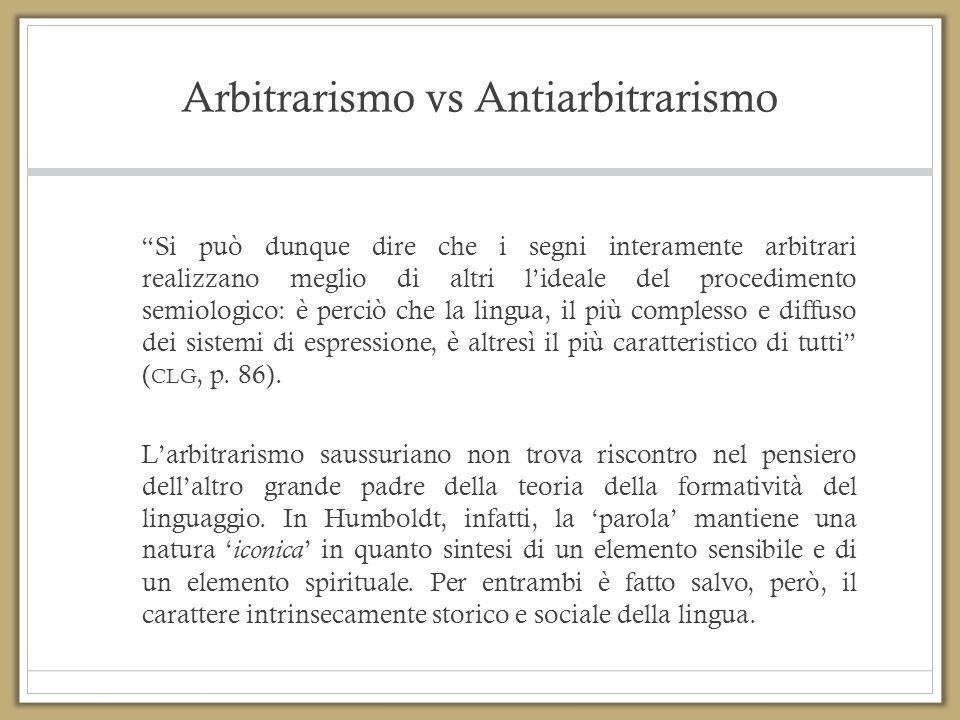 """Arbitrarismo vs Antiarbitrarismo """"Si può dunque dire che i segni interamente arbitrari realizzano meglio di altri l'ideale del procedimento semiologic"""