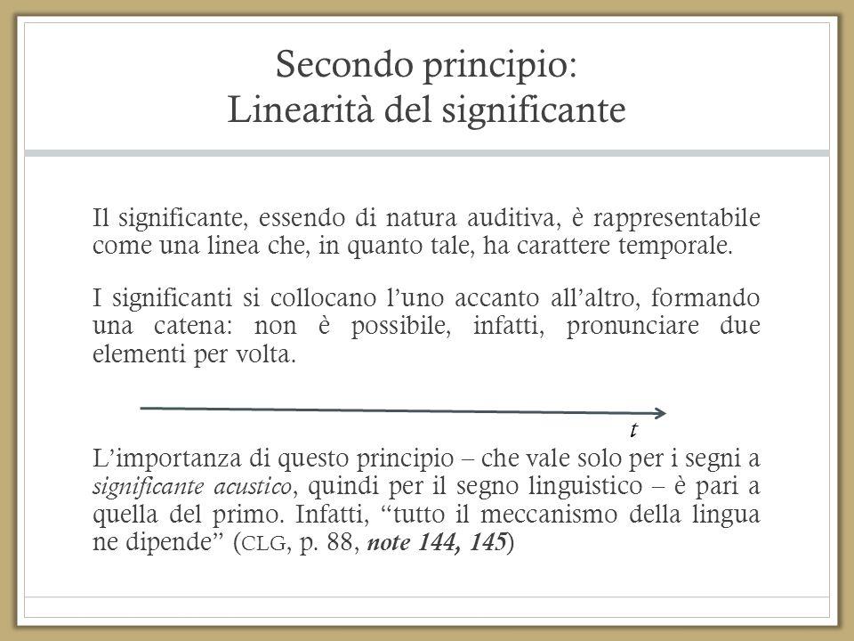 Secondo principio: Linearità del significante Il significante, essendo di natura auditiva, è rappresentabile come una linea che, in quanto tale, ha ca