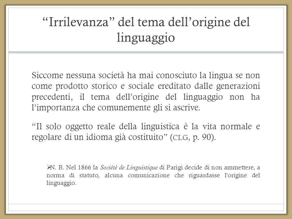 """""""Irrilevanza"""" del tema dell'origine del linguaggio Siccome nessuna società ha mai conosciuto la lingua se non come prodotto storico e sociale ereditat"""