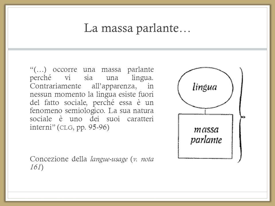 """La massa parlante… """"(…) occorre una massa parlante perché vi sia una lingua. Contrariamente all'apparenza, in nessun momento la lingua esiste fuori de"""