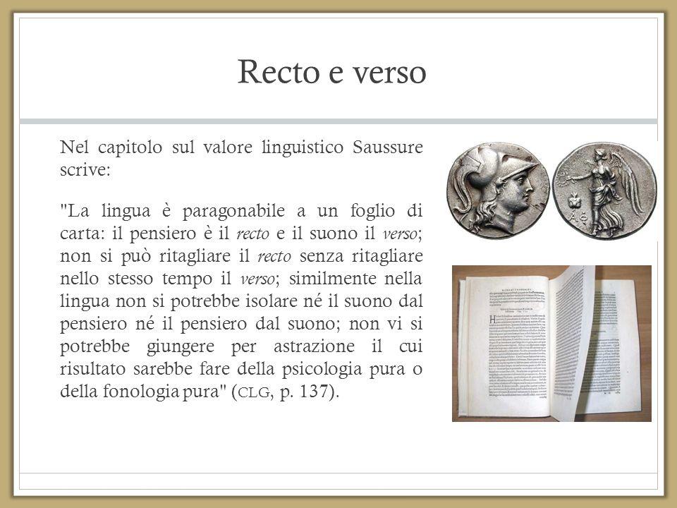 Recto e verso Nel capitolo sul valore linguistico Saussure scrive: