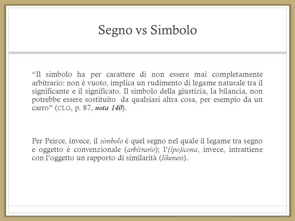 """Segno vs Simbolo """"Il simbolo ha per carattere di non essere mai completamente arbitrario: non è vuoto, implica un rudimento di legame naturale tra il"""