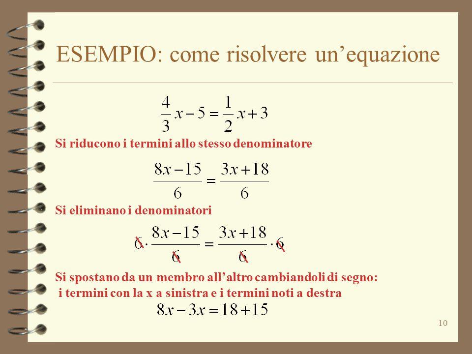 ESEMPIO: come risolvere un'equazione 10 Si riducono i termini allo stesso denominatore Si eliminano i denominatori Si spostano da un membro all'altro cambiandoli di segno: i termini con la x a sinistra e i termini noti a destra