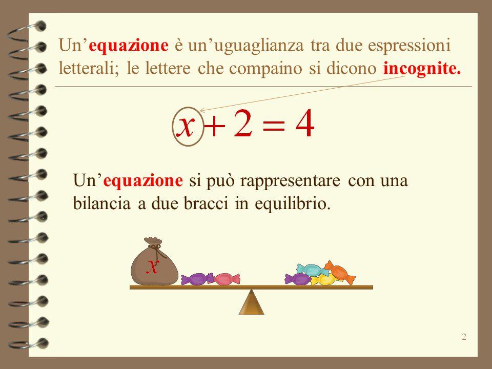 Un'equazione è un'uguaglianza tra due espressioni letterali; le lettere che compaino si dicono incognite.