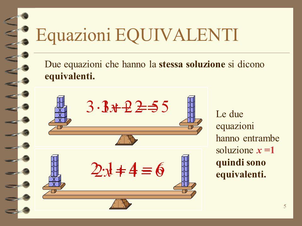 Equazioni EQUIVALENTI 5 Due equazioni che hanno la stessa soluzione si dicono equivalenti.