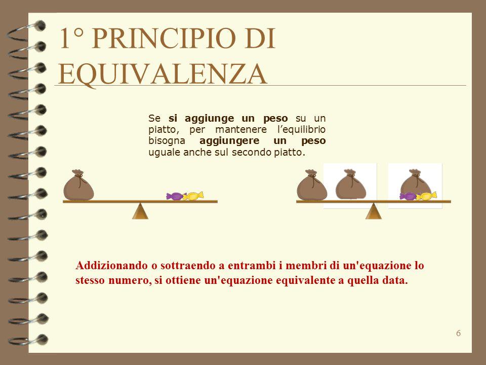 1° PRINCIPIO DI EQUIVALENZA 6 Se si aggiunge un peso su un piatto, per mantenere l'equilibrio bisogna aggiungere un peso uguale anche sul secondo piatto.