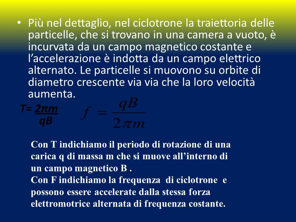 Più nel dettaglio, nel ciclotrone la traiettoria delle particelle, che si trovano in una camera a vuoto, è incurvata da un campo magnetico costante e l'accelerazione è indotta da un campo elettrico alternato.
