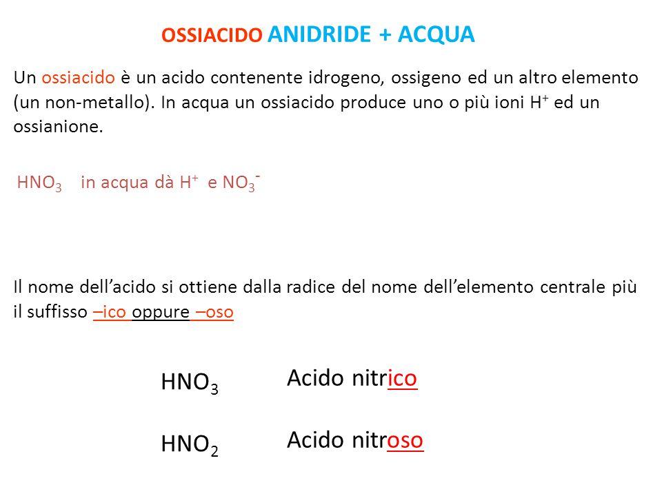 Acidi HNO 3 in acqua dà H + e NO 3 - Un ossiacido è un acido contenente idrogeno, ossigeno ed un altro elemento (un non-metallo).