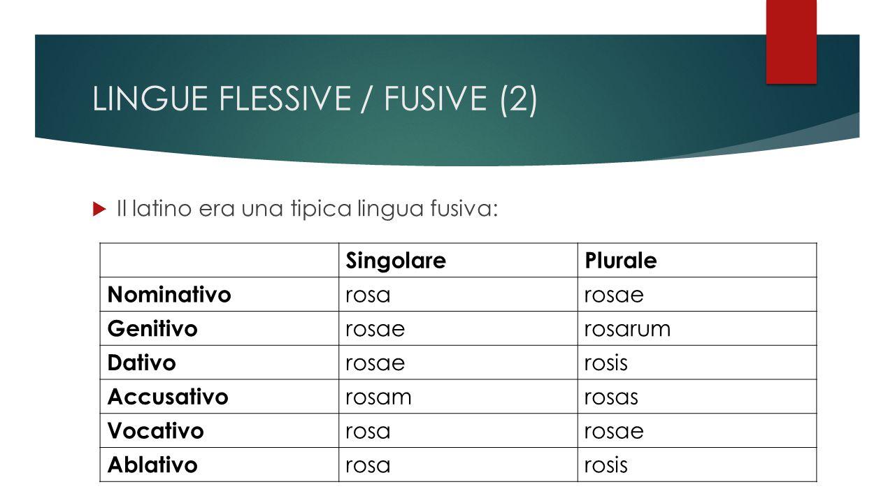 LINGUE FLESSIVE / FUSIVE (2)  Il latino era una tipica lingua fusiva: SingolarePlurale Nominativo rosarosae Genitivo rosaerosarum Dativo rosaerosis Accusativo rosamrosas Vocativo rosarosae Ablativo rosarosis