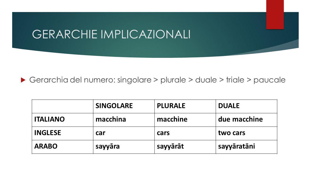 GERARCHIE IMPLICAZIONALI  Gerarchia del numero: singolare > plurale > duale > triale > paucale SINGOLAREPLURALEDUALE ITALIANOmacchinamacchinedue macchine INGLESEcarcarstwo cars ARABOsayyārasayyārātsayyāratāni