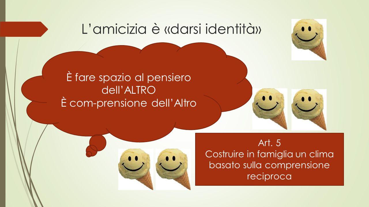 L'amicizia è «darsi identità» È fare spazio al pensiero dell'ALTRO È com-prensione dell'Altro Art.