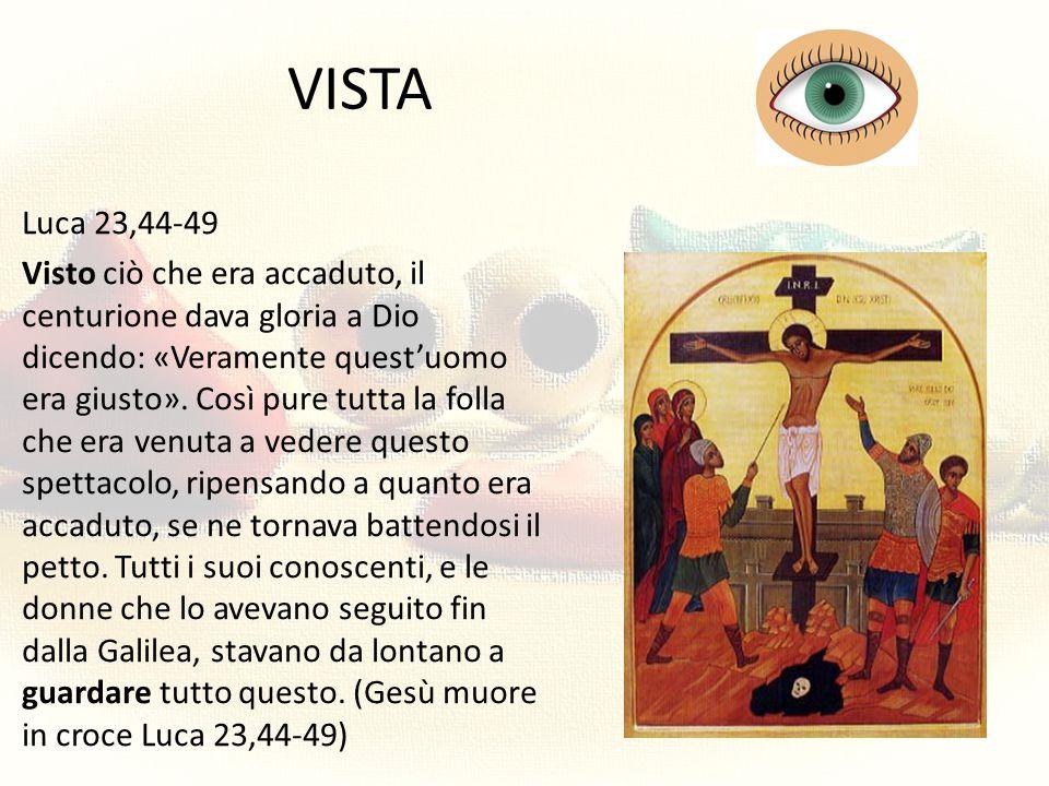 VISTA Luca 23,44-49 Visto ciò che era accaduto, il centurione dava gloria a Dio dicendo: «Veramente quest'uomo era giusto». Così pure tutta la folla c