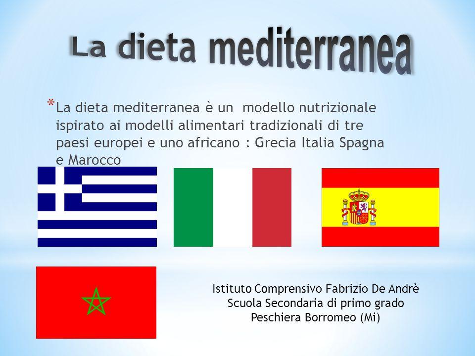 * La dieta mediterranea è un modello nutrizionale ispirato ai modelli alimentari tradizionali di tre paesi europei e uno africano : Grecia Italia Spag