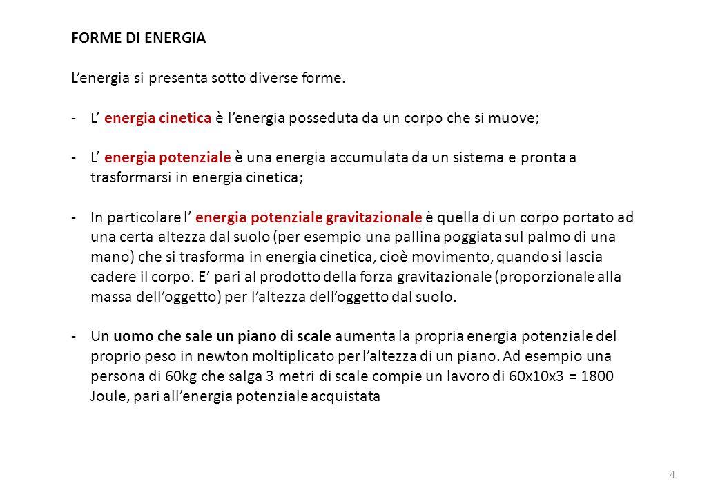 FORME DI ENERGIA L'energia si presenta sotto diverse forme.