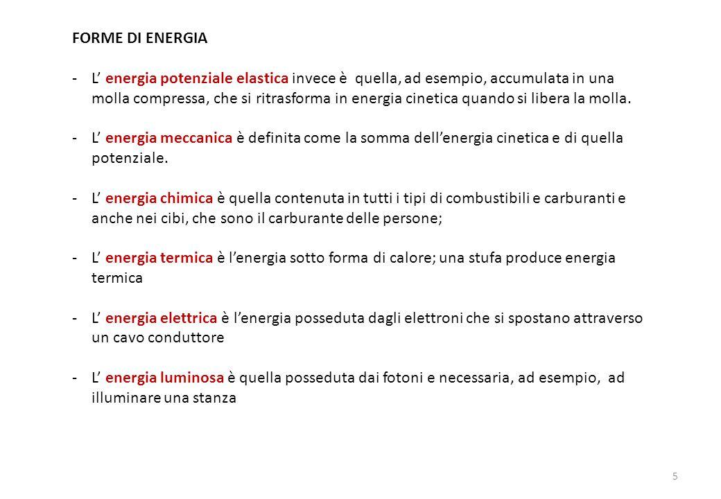 FORME DI ENERGIA -L' energia potenziale elastica invece è quella, ad esempio, accumulata in una molla compressa, che si ritrasforma in energia cinetica quando si libera la molla.