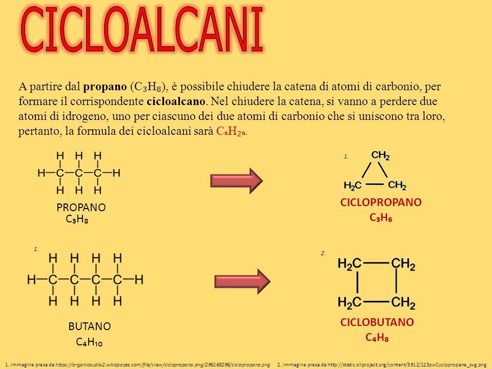 A partire dal propano (C ₃ H ₈ ), è possibile chiudere la catena di atomi di carbonio, per formare il corrispondente cicloalcano.