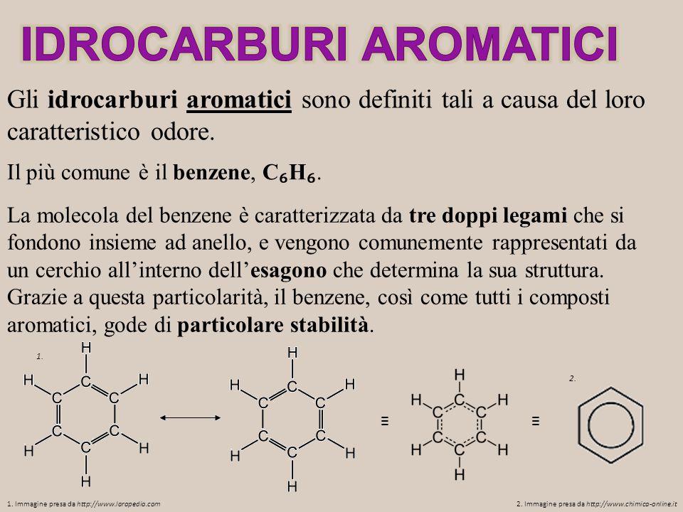 Gli idrocarburi aromatici sono definiti tali a causa del loro caratteristico odore. Il più comune è il benzene, C ₆ H ₆. La molecola del benzene è car