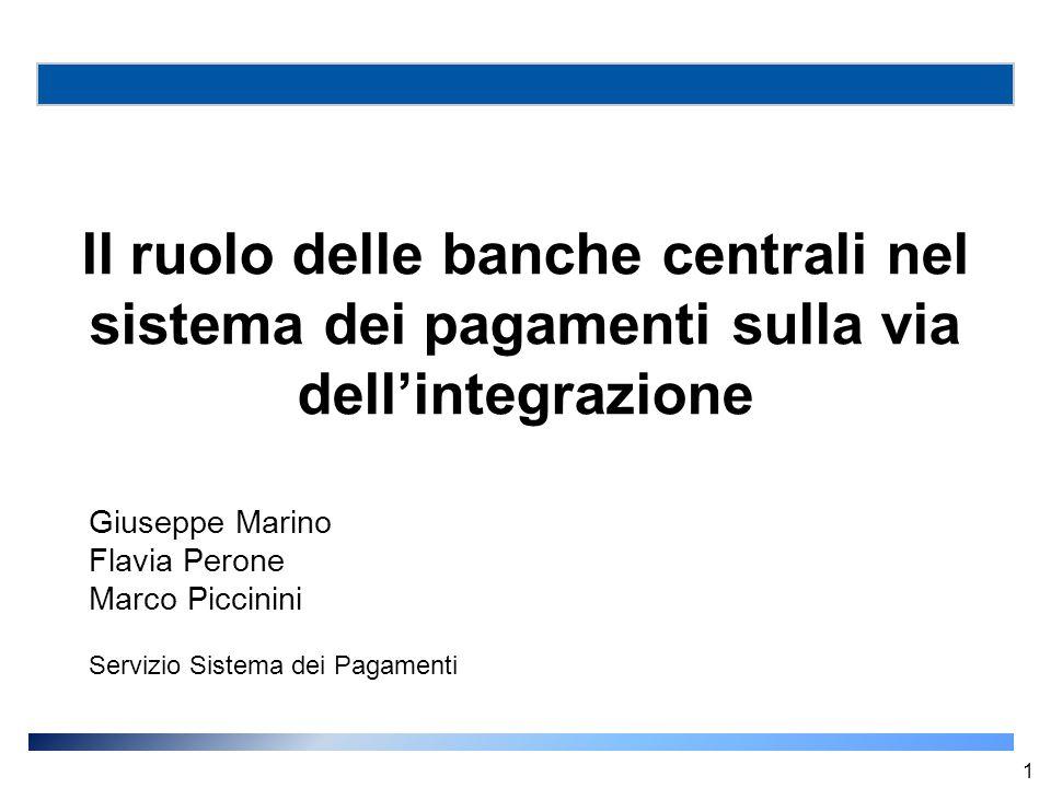 Il ruolo delle banche centrali nel sistema dei pagamenti sulla via dell'integrazione Giuseppe Marino Flavia Perone Marco Piccinini Servizio Sistema de